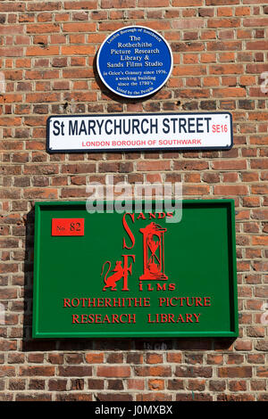 Rotherhithe Picture Research Library & Sands Film Studio, St Marychurch Street, Southwark, London, England, UK. - Stock Photo