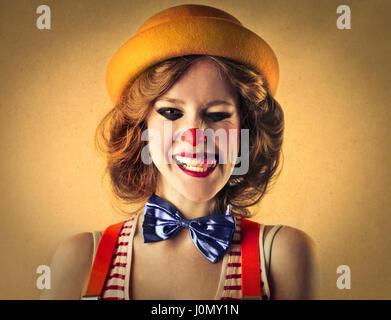 Clown woman's portrait - Stock Photo