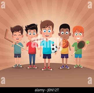 group boy sport exercise game - Stock Photo