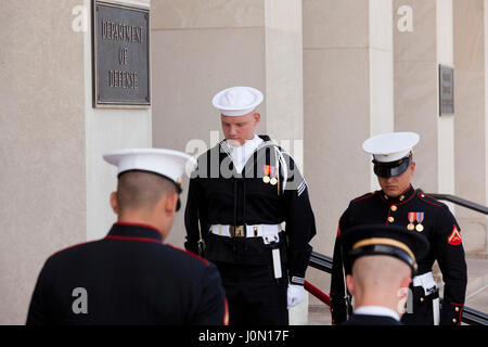 Honor cordon joint service members at Pentagon River entrance during foreign dignitary visit - Washington, DC USA - Stock Photo