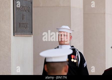 Honor cordon joint service members at Pentagon River entrance during foreign dignitary visit - Washington, DC USA - Stock Photo