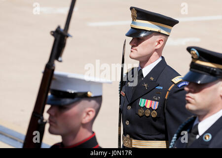 US Army Officer in Joint Service Honor Cordon at The Pentagon - Washington, DC USA - Stock Photo