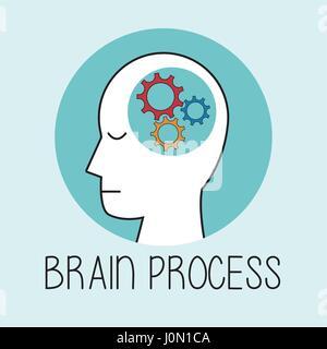 profile human head brain process - Stock Photo