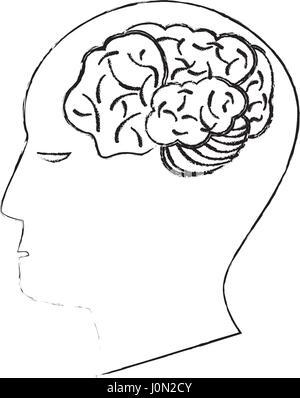 head human brain creativity sketch - Stock Photo