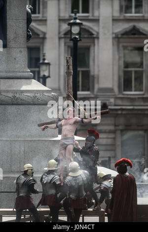 London, UK. 14th April, 2017. The Passion of Jesus play by the Wintershall Charitable Trust in Trafalgar Square - Stock Photo