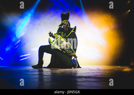 Turin, Italy. 14th Apr, 2017. April 14th, 2017: Guilhem Desq playing his electric hurdy gurdy at the Alis - Le Cirque - Stock Photo
