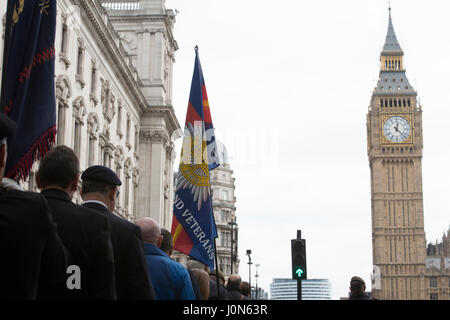 London, UK. 14th April, 2017. Thousands of Veterans, from across the UK have attended a large demonstration in Whitehall, - Stock Photo