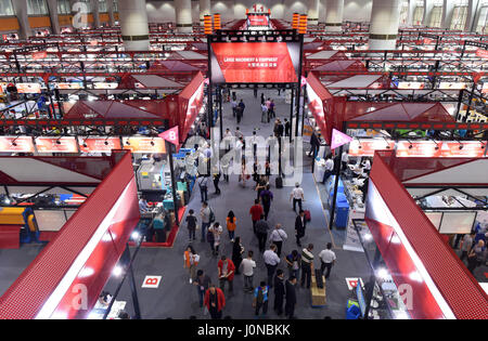Guangzhou, China's Guangdong Province. 15th Apr, 2017. People visit the China Import and Export Fair, or the Canton - Stock Photo