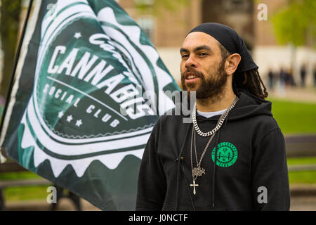 Bristol, UK. 15th April, 2017. Bristol Cannabis Club Co-Founder Alistar Burrell campaigning for the legalisation - Stock Photo