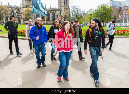 Bristol, UK. 15th April, 2017. Campaigners for the legalisation of cannabis marched from Bristol's College Green - Stock Photo
