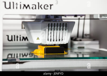 Moscow, Russia - November, 2016: Ultimaker 3d printer printing. Close up process of new printing technology - Stock Photo