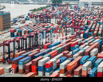 CTT Container Terminal Tollerort in the Port of Hamburg, Germany. - Stock Photo