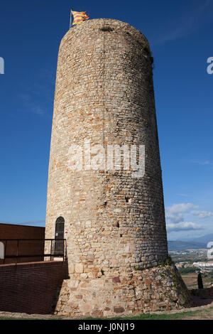 Spain, Catalonia, Blanes, Castle of Sant Joan (Saint John), cylindrical stone defense tower, fortification dating - Stock Photo