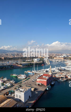 View over Port Vell in Barcelona city, Catalonia, Spain - Stock Photo