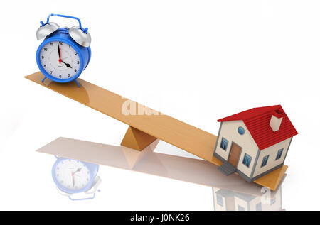 Alarm clock with House Model - 3D Rendering Image - Stock Photo