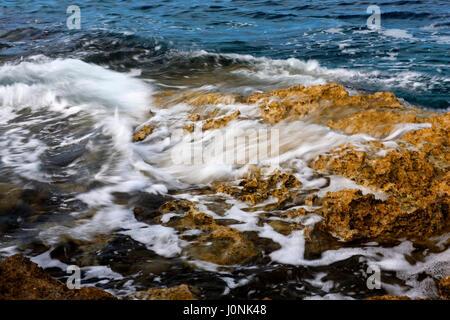 rocky coastline on kamenjak, Croatia - Stock Photo