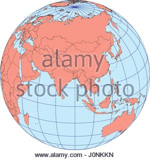 globe map centered on asia ortographic projection with graticule elements of this image furnished