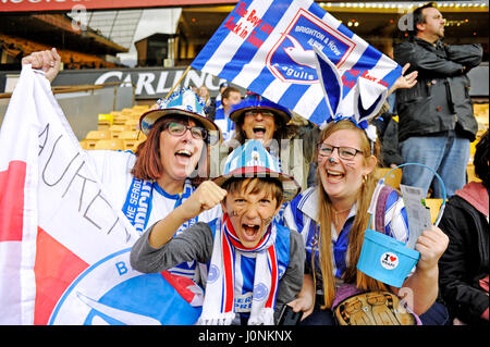 Brighton fans hoping for a great Friday result at the Sky Bet Championship match between Wolverhampton Wanderers - Stock Photo
