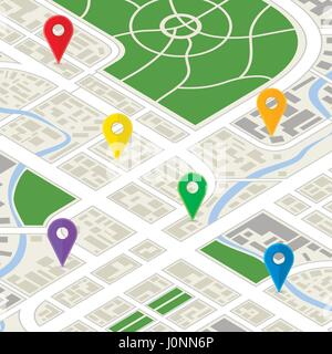 Detailed city map in isometric view with bright colourful GPS pins - Stock Photo