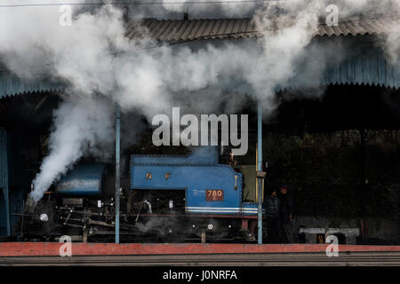 Servicing steam engines of the DHR - Darjeeling Himalayan Railway - or 'Toy Train', Darjeeling. - Stock Photo