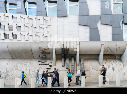 View of exterior architecture of Scottish Parliament Building in Holyrood, Edinburgh, Scotland, United Kingdom - Stock Photo