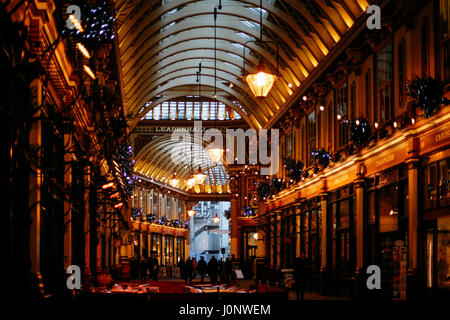 Passage and shops inside Leadenhall Market, popular market in London that was built in the 19th century. - Stock Photo