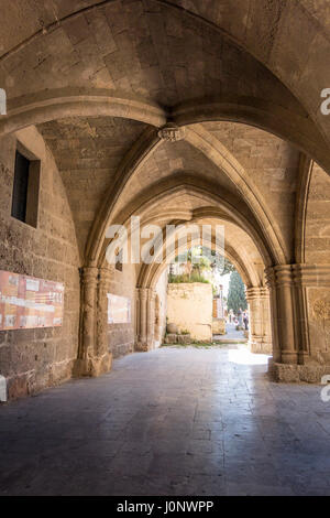 Palace of the Grand Master of the Knights of Rhodes , also known as the Kastello , is a medieval castle in the city - Stock Photo