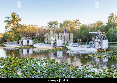 Airboats in the Everglades National Park. Florida, United States - Stock Photo
