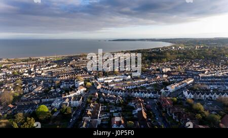 Editorial SWANSEA, UK - APRIL 13, 2017: A view of Swansea West and the Bay area towards the Mumbles looking from - Stock Photo