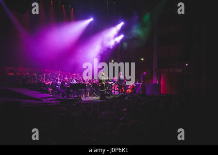 Turin, Italy. 14th Apr, 2017. Max GazzŽ performed at the Auditorium Lingotto for his 'Alchemaya' tour concert. Credit: - Stock Photo