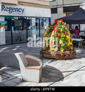 Sitting area with a plant display at Douglas shopping street, isle of man - Stock Photo