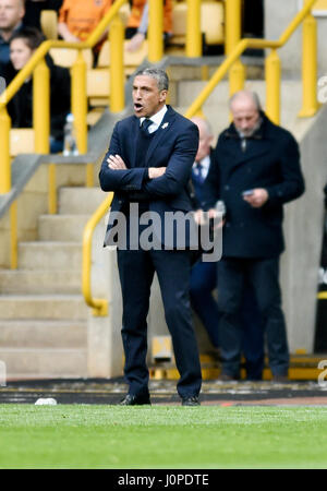 Brighton manager Chris Hughton during the Sky Bet Championship match between Wolverhampton Wanderers and Brighton - Stock Photo