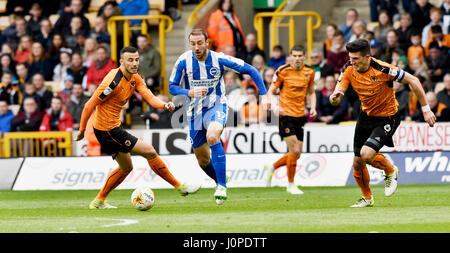 Glenn Murray of Brighton gets forward during the Sky Bet Championship match between Wolverhampton Wanderers and - Stock Photo
