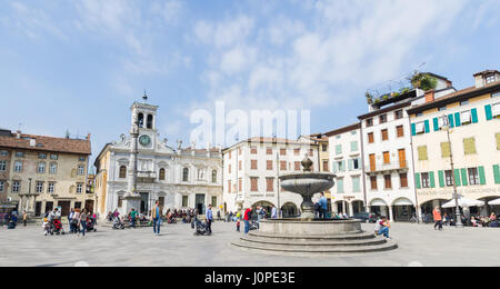 Piazza Matteotti, a typical italian square, in the heart of Udine (9th April 2017) - Stock Photo