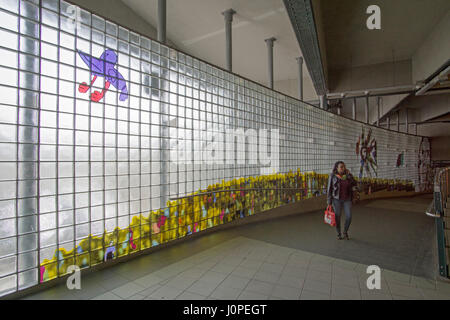 Artwork at the Stillwell Avenue subway station in Coney Island Brooklyn, New York - Stock Photo