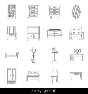 Furniture icons set, outline style - Stock Photo