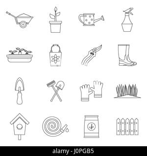 Gardening icons set, outline style - Stock Photo