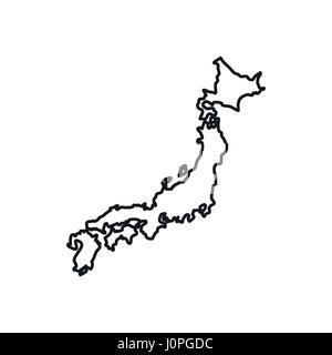 Japan map icon, outline style - Stock Photo