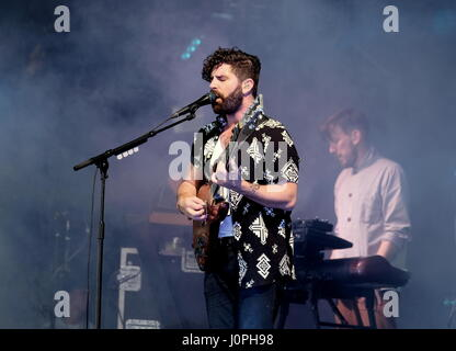 The Foals  with lead singer Yannis Philippakis performing on the Pyramid Stage at Glastonbury Festival UK June 2016 - Stock Photo