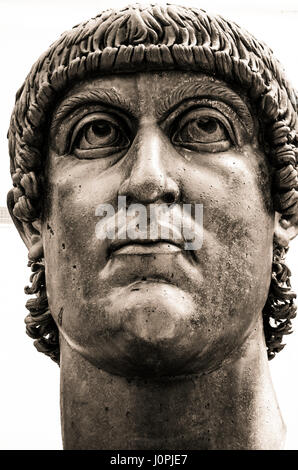 Colossal bronze head of Constantine. Capitoline museum.. Rome Italy - Stock Photo