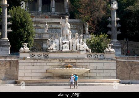 Pincio Terrace, group of statues, goddess Roma between Tiber and Aniene, Piazza del Popolo, Rome, Lazio, Italy, - Stock Photo