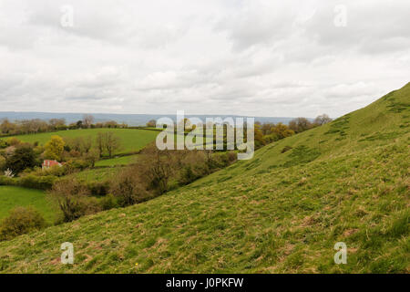 Landscape view from the top of Glastonbury Tor, Avalon, Somerset, England, UK - Stock Photo