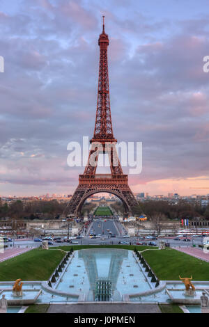 The Eiffel Tower and fountains at sunset. Paris. France - Stock Photo
