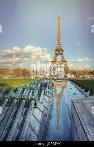 The Eiffel Tower and fountains on a sunny spring day. Paris. France - Stock Photo