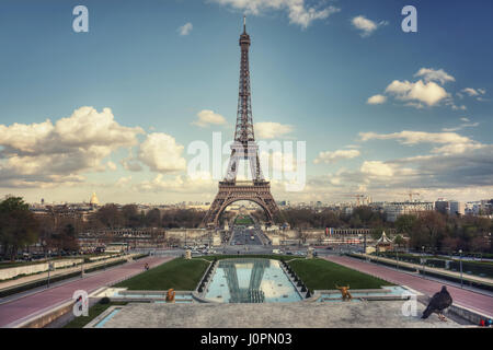 Eiffel Tower and Pont d'Iena seen from Trocadero Gardens. Paris. France - Stock Photo