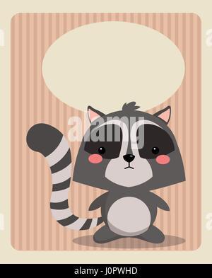 cute raccoon card greeting image - Stock Photo