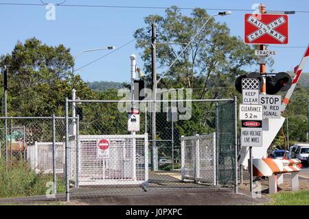 Railway Crossing in country area Australia - Stock Photo