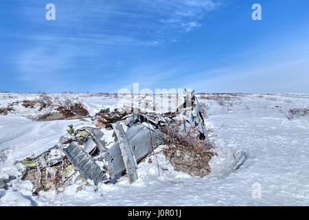 Plane wreck near Kangerlussuaq, Artic Circle, Greenland, Europe - Stock Photo