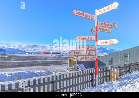 airport in Kangerlussuaq, Artic Circle, Greenland, Europe - Stock Photo