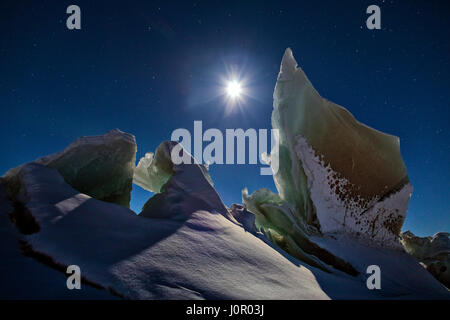 full moon over Russell Glacier, Kangerlussuaq, Artic Circle, Greenland, Europe - Stock Photo